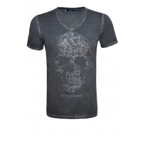 Death's Head Rivets Vintage V-Shirt